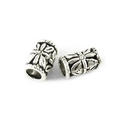 Packet of 30 x Antique Silver Tibetan 6 x 9mm Tube Spacer Beads HA17500