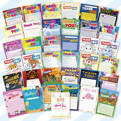 THANK YOU PADS A5 x20 Sheets Childrens Kids Birthday Party Pack Blank Boys Girls