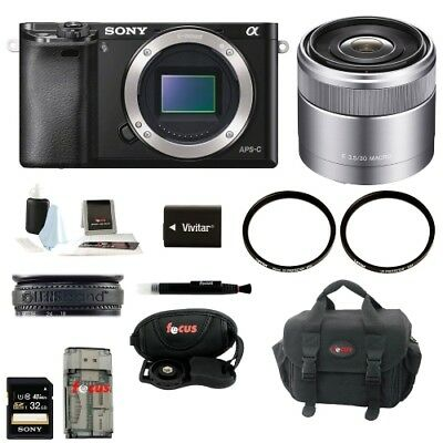 Sony Alpha A6000 Mirrorless Digital Camera (Body) with 30mm Lens and 32GB Kit