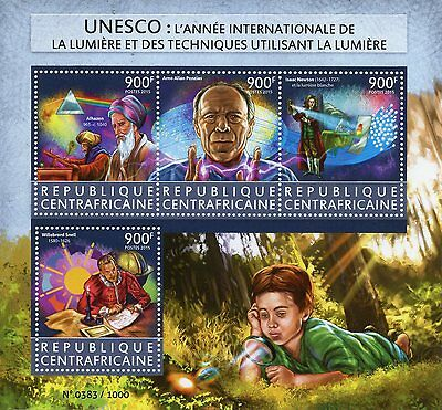 Central African Rep 2015 MNH UNESCO Int Year of Light 4v M/S Isaac Newton Snell