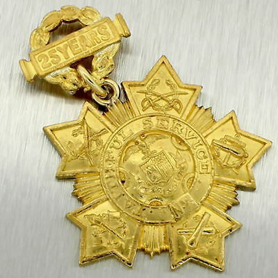 Antique Tiffany & Co Fine Gold New York National Guard 25 Year Service Medal