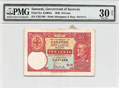 Sarawak 10 Cents  1.8.1940  P 25c Prefix C  Circulated Banknote