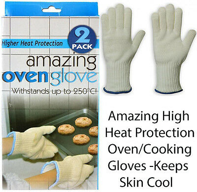 High Heat Protection OVEN GLOVES -Kitchen Cooking Gloves Keep Skin Cool One Size