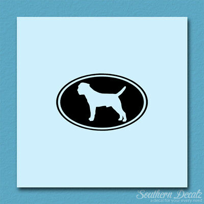 Border Terrier Oval Dog - Decal Sticker - Multiple Colors & Sizes - ebn3638