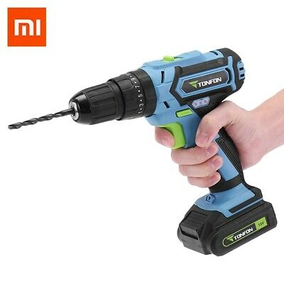 Xiaomi TONFON 12V LED Cordless Electric Power Drill Screw Driver Bits Kit Set