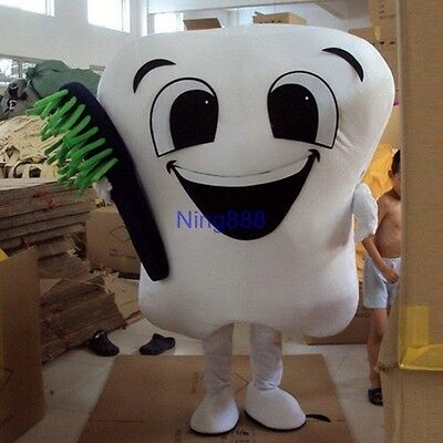 Adult Size Tooth Mascot Costume EPE Dentist with toothbrush Fancy Dress