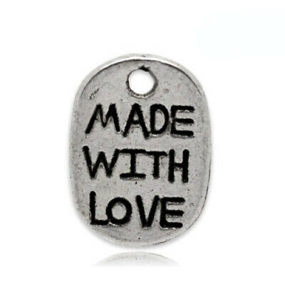 Made With Love Charm/Pendant Tibetan Antique Silver 11mm  30 Charms Accessory
