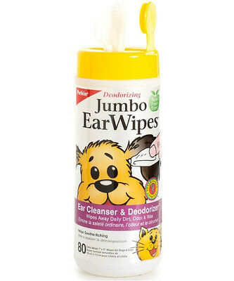Petkin Jumbo Deodorising Moist Ear Cleaning Cleansing Wipes for Dogs & Cats x80