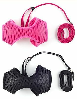Ancol Soft Fabric Mesh Cat or Puppy Harness & Lead Set in 3 Sizes Black or Pink