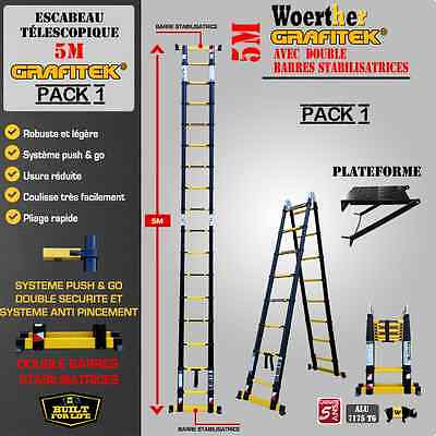 Escabeau Telescopique Woerther 5M Pack 1 (Escabeau + Plateforne)