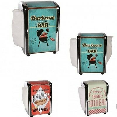 Metal Napkin Dispenser- Retro Design- With  100  napkins / serviettes