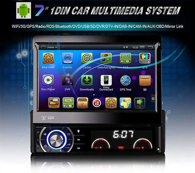 Single Din Car DVD Player GPS Navigation In-dash Full HD Android Bluetooth WIFI