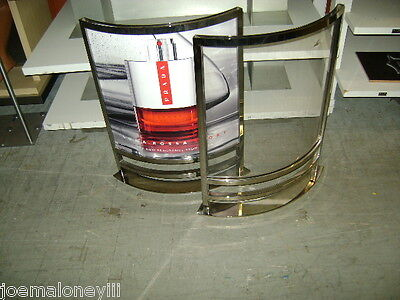 Chrome Clear Acrylic Sm Curved Retail Indoor  Floor Sign Holder Divider