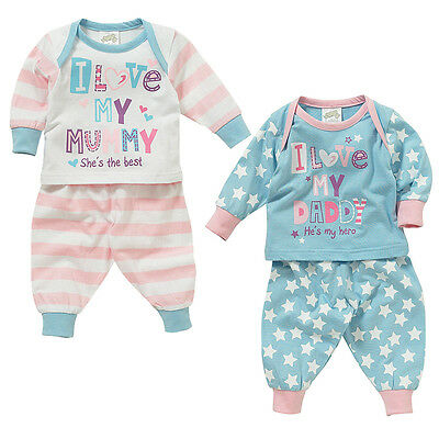 Lullaby Baby Girls I Love My Mummy or Daddy Long Sleeve Cotton Pyjamas 0-23mths