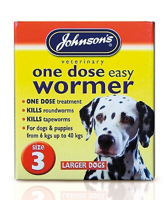 Johnsons One Dose Easy Wormer Worming Treatment Tablets for Dogs