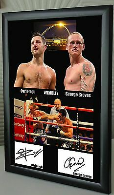 """Carl Froch George Groves Wembley Fight Framed Canvas Print Signed """"Great Gift"""" 2"""