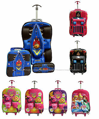 Kids Childrens 3D Travel Luggage Trolley Case 3 Piece Set Hand Cabin Suitcase