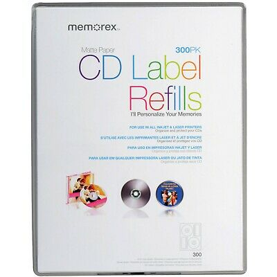 Memorex White CD Labels, Matte Finish, 300 Count, 32020403, New, Free Shipping