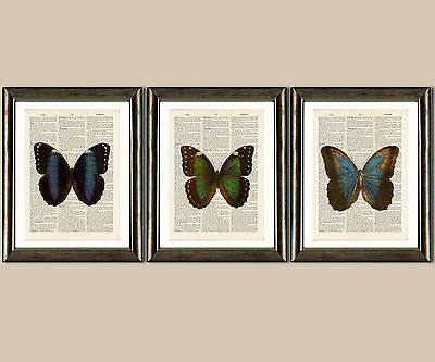 Antique Book page Art  - Set of 3 Butterfly Prints Set 1 Dictionary Wall Art