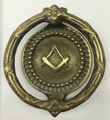 Freemason Door Knocker Brass Amazing Shape Very Good!