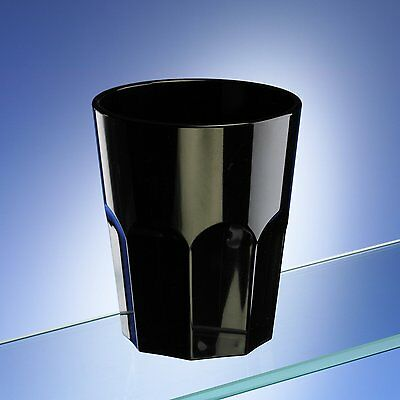 Virtually Unbreakable Black Plastic Octagon Shaped Tumblers 270ml Pack of 6