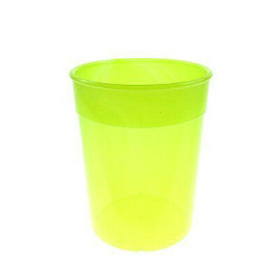 Stackable Neon Yellow Plastic Cups / Beakers / Tumblers 250ml Pack of 6