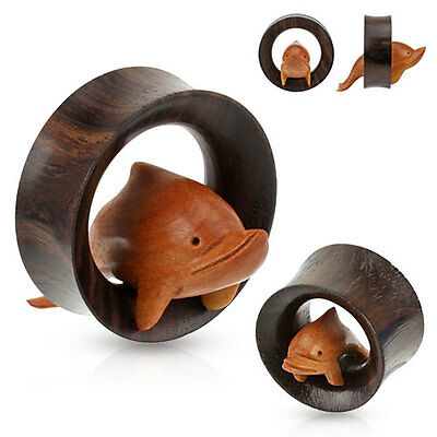 PAIR of DOLPHIN Hand Carved Sono WOOD EAR Gauges PLUGS SADDLES Tunnels Piercing