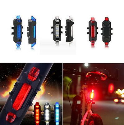 5 LED NEW USB Tail Rear Safety Warning Light Bike Bicycle