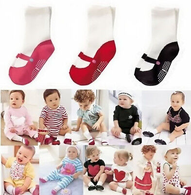 Clothing Anti Slip Cotton Shoes Boots Girl Baby Toddler  Knee Socks 3 Colors