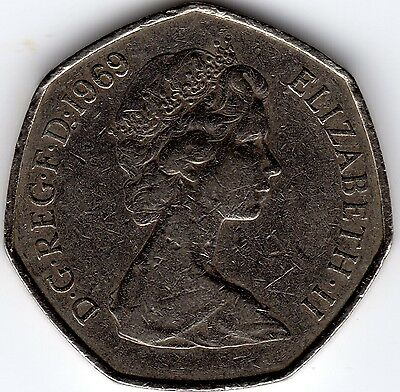 1969 50P COIN RARE COLLECTABLE OLD LARGE STYLE FIFTY PENCE (c)