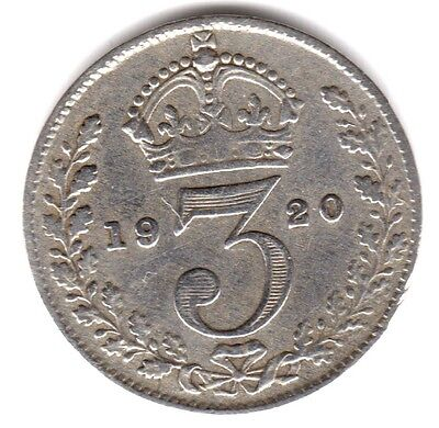 1920 3d Silver THREE PENCE threepence thrupence King George V (i)