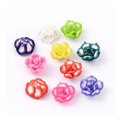 Packet of 10 x Mixed Polymer Clay 8 x 20mm Flower Beads HA24070
