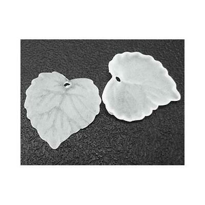 Packet of 50+ White Lucite 15 x 16mm Leaf Beads HA26340