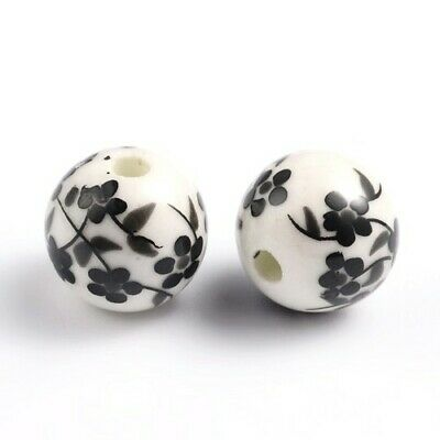 Porcelain Round Beads 12mm White/Black 10 Pcs Art Hobby Jewellery Making Crafts