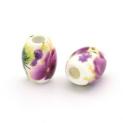 Porcelain Oval Beads 8 x 10mm White/Violet 10 Pcs Art Hobby DIY Jewellery Making