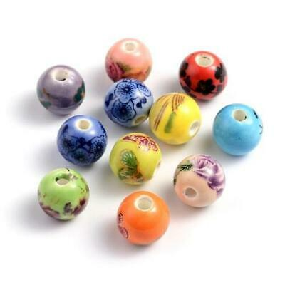 Packet of 10 x Mixed Porcelain 10mm Round Beads HA27215