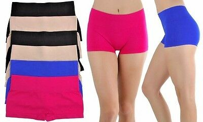 Lot 4 Pack Womens Active Gogo Hipster Booty Boy-Shorts Gym Yoga Seamless S M L