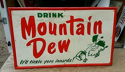 Rare 1965 Mountain Dew Sign with Hillbilly! 5ftx3ft. Painted metal