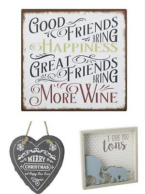 I Love You Vintage Good Friends Bring Happiness Heart Tag Christmas Wall Sign