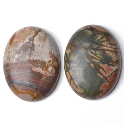 1 x Mixed Picasso Jasper 30 x 40mm Oval-Shaped Flat-Backed Cabochon CA16659-8