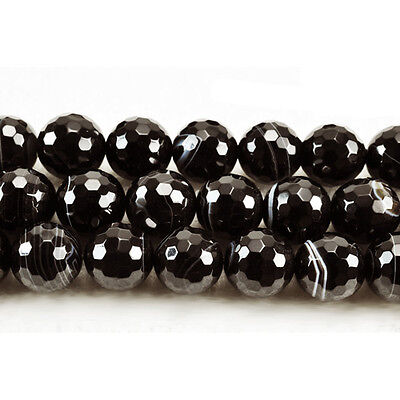 Strand Of 38+ Black Banded Agate 10mm Faceted Round Beads GS5239-3