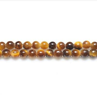 Strand Of 110+ Yellow/Brown Tiger Eye 3mm Plain Round Beads GS9710-2