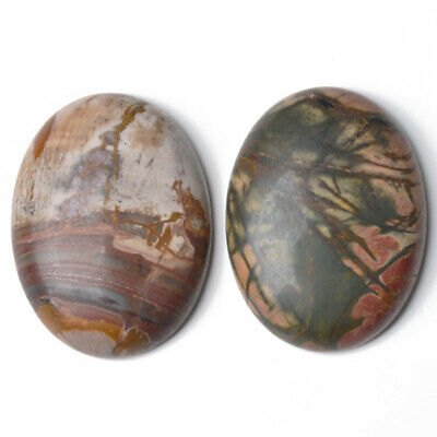 1 x Mixed Picasso Jasper 18 x 25mm Oval-Shaped Flat-Backed Cabochon CA16659-6