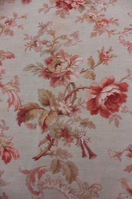 French Floral & Rose Scroll Antique 19thC c1880 Cotton Fabric Textile~Home Dec