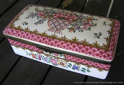 Antique 19th Century Signed French Famille Rose Porcelain Powder Box