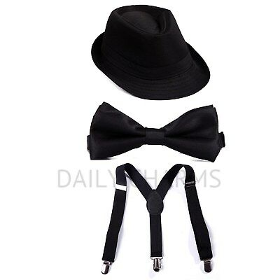 Kid Adjustable Suspenders + Pre-tied Microfiber Bow tie + Short Brim Fedora Hat