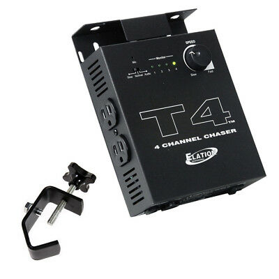 American DJ T4 4 Channel Chase Lighting Fixture Controller with Mounting Clamp
