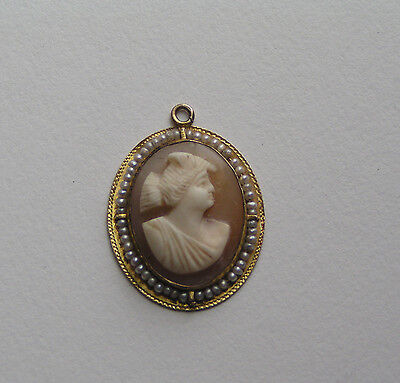 Delicate Victorian 10K Yellow Gold Cameo Seed Pearl Pendant Charm
