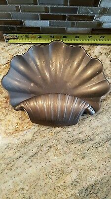 Vintage Soap dish tray scalloped shell brass Trinket bowl dish