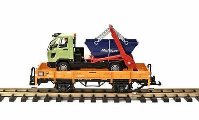 LGB Low-sided wagon light brown with Dumper truck, G Scale Garden railway